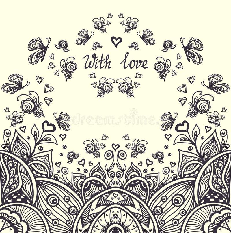 Det abstrakta romantiska landskapet i Zen-tova stil för kopplar av färgläggningsidasvart på vit stock illustrationer