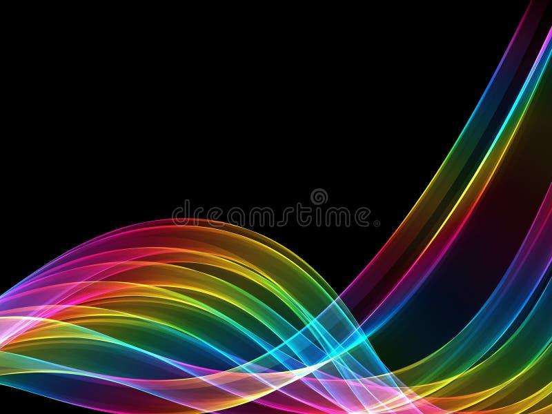 Det abstrakta spektret färgar ljusa vågor på svart bakgrund stock illustrationer