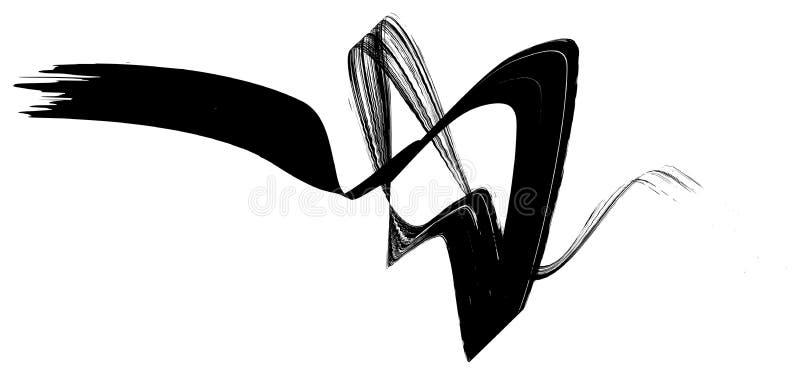 Det abstrakta svarta m?larpenselbandet b?jde sl?tt geometrisk form f?r band arkivfoto