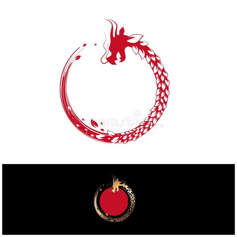 Det abstrakta växt- bladet rundar den kinesiska draken royaltyfri illustrationer