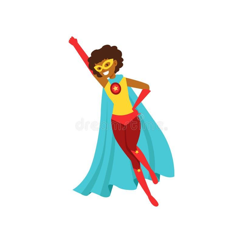 Det afro- amerikanska kvinnateckenet klädde som en toppen hjälte som flyget i det traditionella heroiskt poserar tecknad filmvekt royaltyfri illustrationer