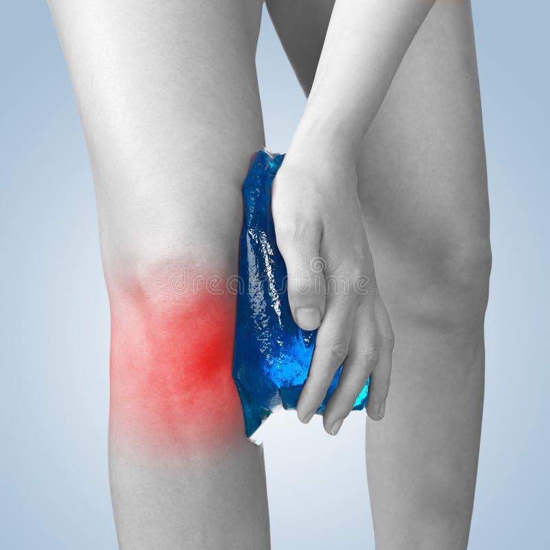 det akut knäet smärtar kvinnan royaltyfri bild
