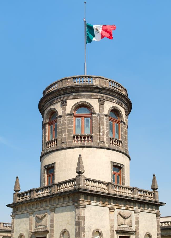 Det alt- tornet för Caballero överst av den Chapultepec slotten i Mexico - stad arkivfoton