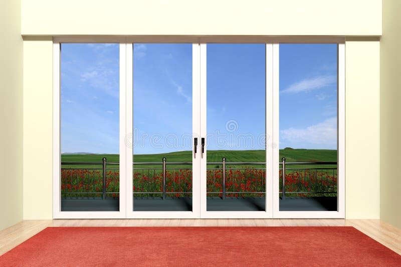 Det Aluminum fönstret med beskådar stock illustrationer
