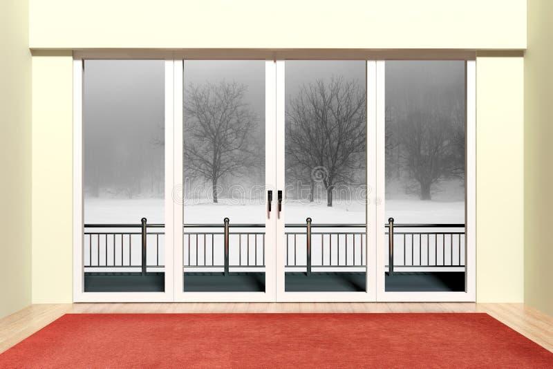 Det Aluminum fönstret med beskådar royaltyfri illustrationer