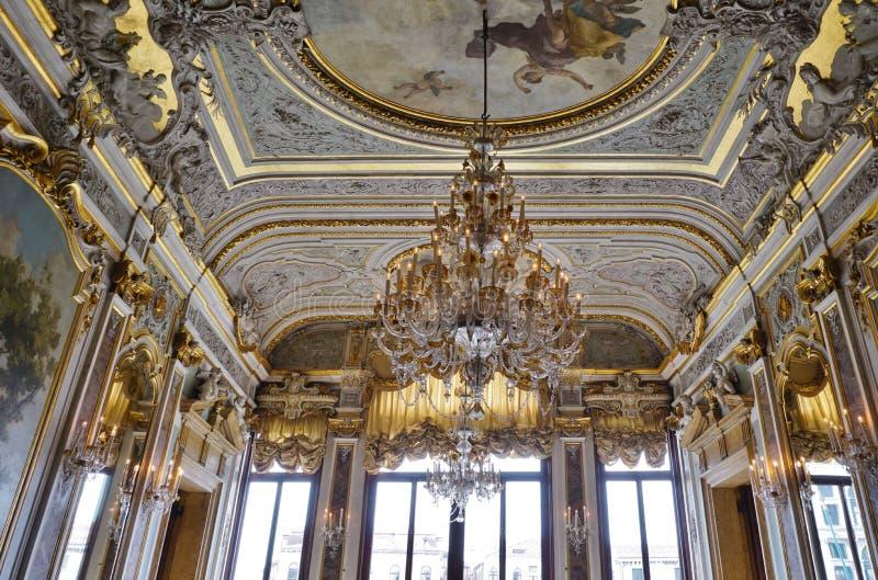 Det Aman Canal Grande hotellet som lokaliseras i Palazzoen Papadopoli i Venedig arkivbild