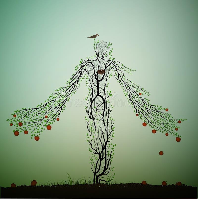 Det Apple trädet ser som en kvinna och sträckning av hans handrancher med röda äpplen, det magiska teckenet för äppleträdet, dröm stock illustrationer