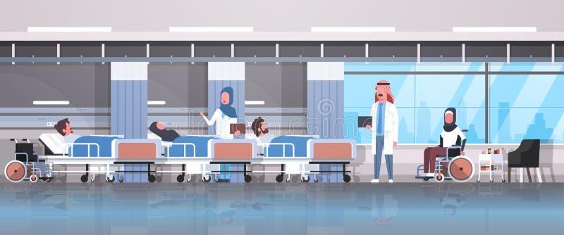 Det arabiska doktorslaget som besöker rörelsehindrade arabiska patienter som sitter terapi för säng för rullstol liggande intensi royaltyfri illustrationer