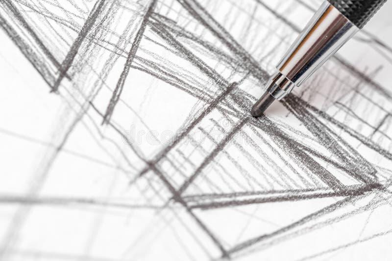 Det arkitektHand Drawing House planet skissar royaltyfri bild