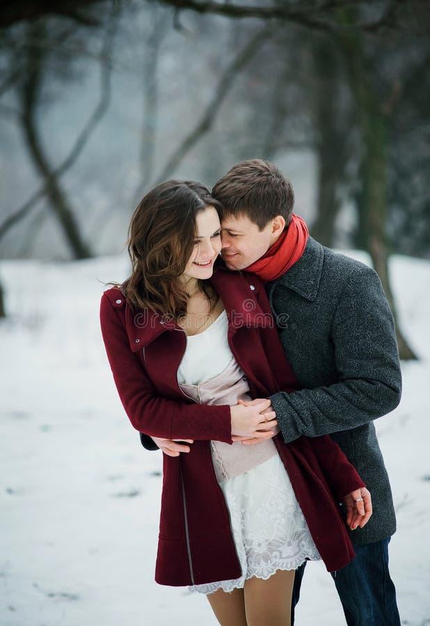 Det attraktiva barnet kopplar ihop förälskat i det snöig parkerar royaltyfri bild