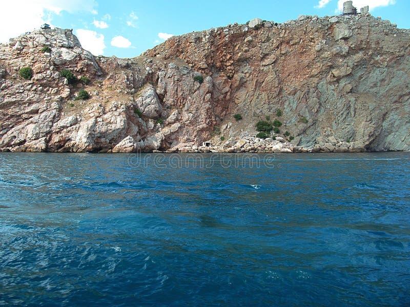 Det azura blåa havet och vaggar royaltyfria foton