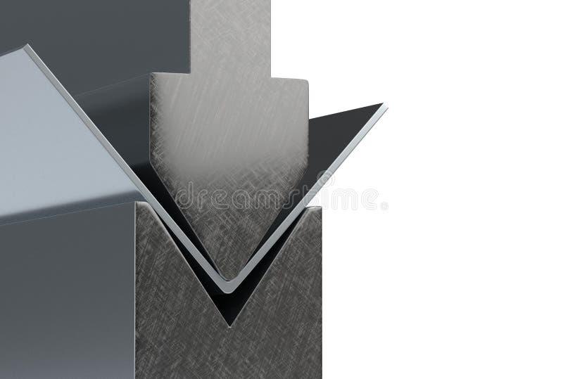 Det böjande metallarket av den böjande maskinen 3d för arket framför vektor illustrationer