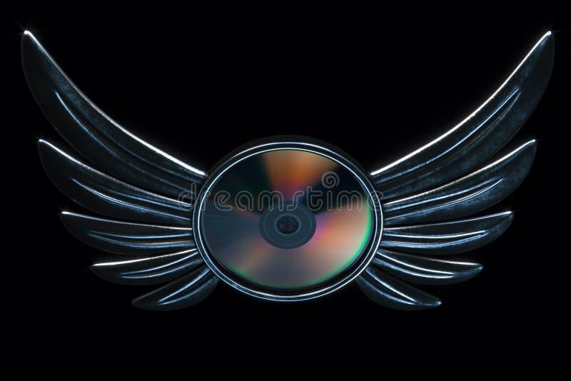 Det begreppsmässiga cd skivaemblemet med metalliska vingar 3d framför version royaltyfri illustrationer