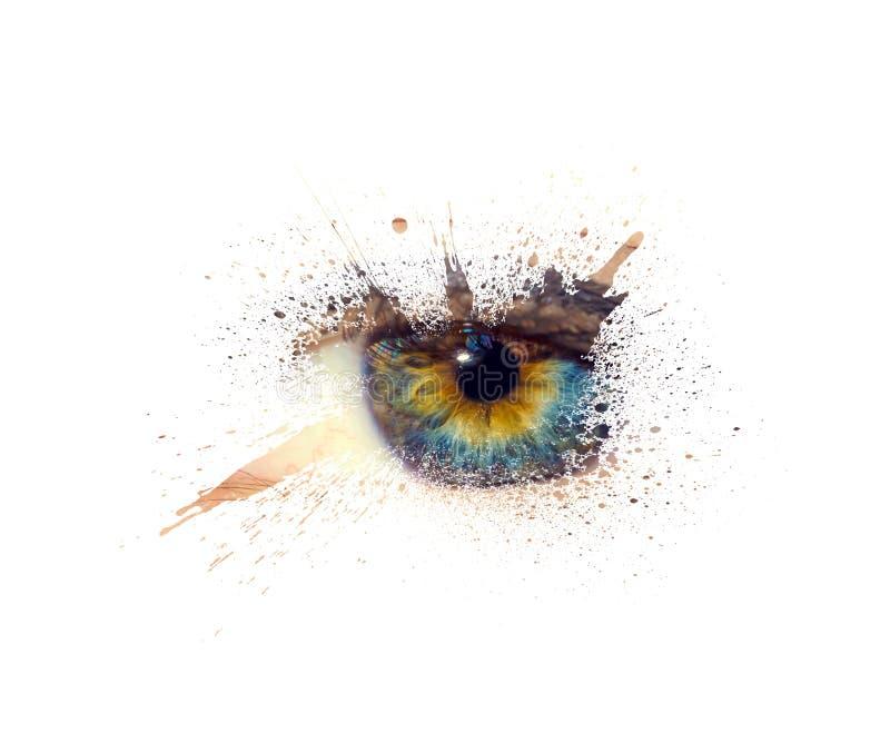 Det begreppsmässiga idérika fotoet av en kvinnlig ögonnärbild i form av färgstänk, explosionen och stekflott målar isolerat arkivfoto