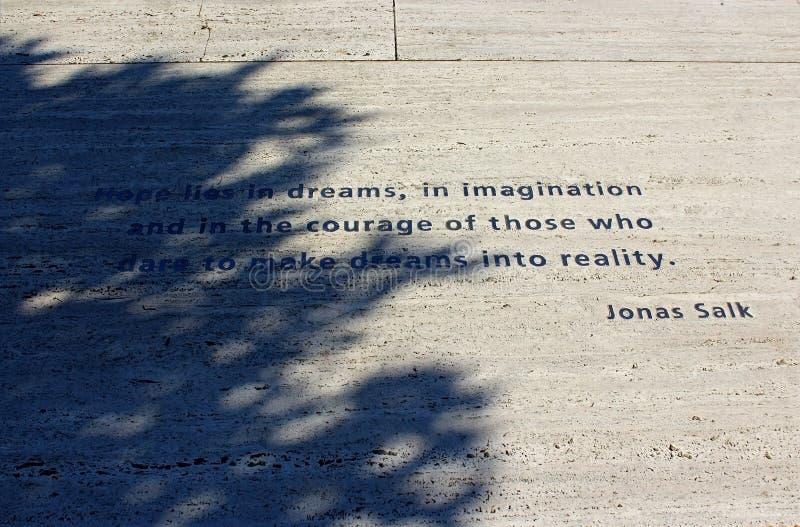Det berömda citationstecknet av Jonas Salk royaltyfri bild