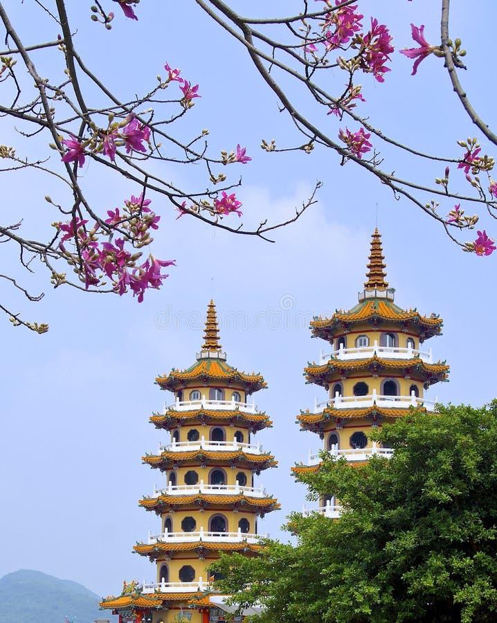 Det berömda tornet för scenisk fläck av draken och tigern royaltyfri fotografi