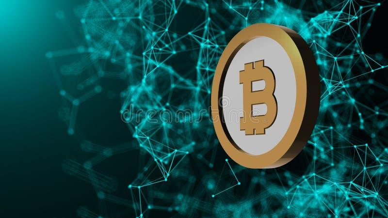 Det Bitcoin myntet och många nätverksanslutningar, dator frambragte abstrakt teknologibakgrund, 3d framför royaltyfri illustrationer