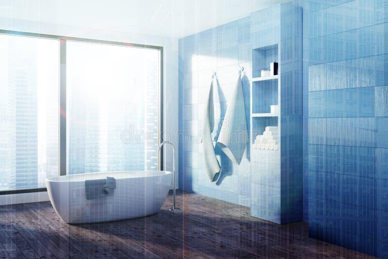 Det blåa badrummet, vit badar tonat royaltyfri illustrationer