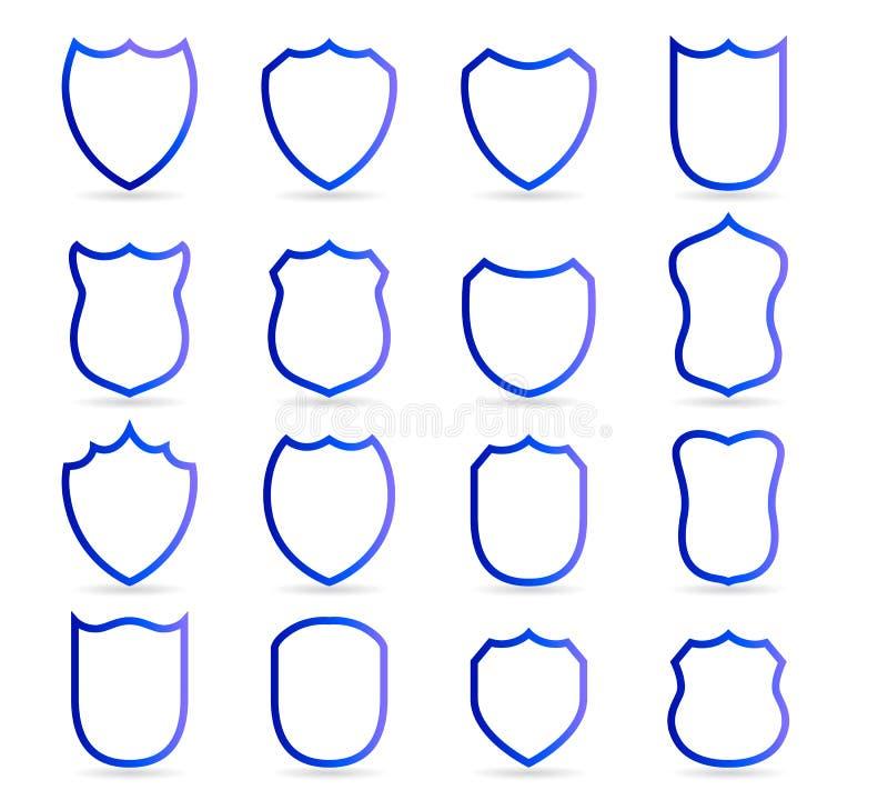 Det blåa emblemet lappar vektoröversiktsmallar Vektor för klubba för sport militär eller heraldisk för sköld- och vapensköldmella royaltyfri illustrationer