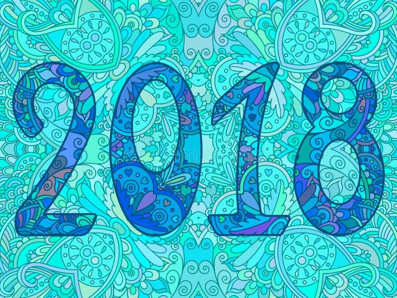 Det blåa nya året numrerar 2018 med prydnaden royaltyfri illustrationer