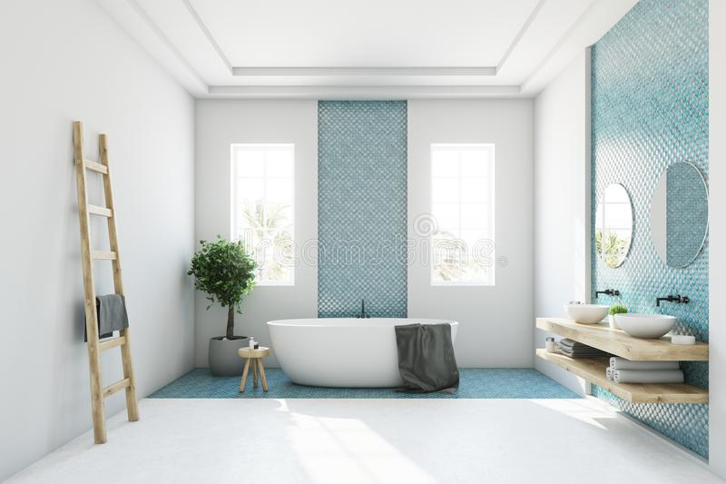 Det blåa och vita badrummet, vit badar vektor illustrationer