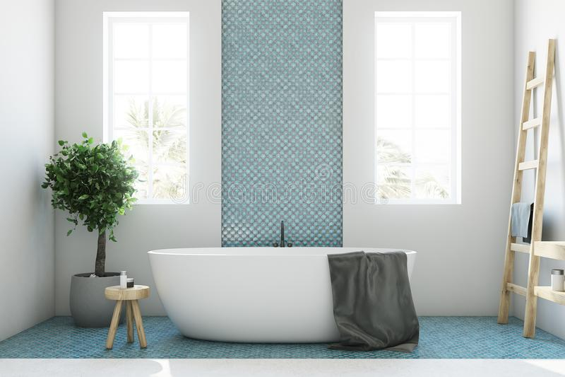 Det blåa och vita badrummet, vit badar closeupen vektor illustrationer