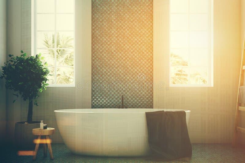 Det blåa och vita badrummet, vit badar den tonade closeupen royaltyfri illustrationer
