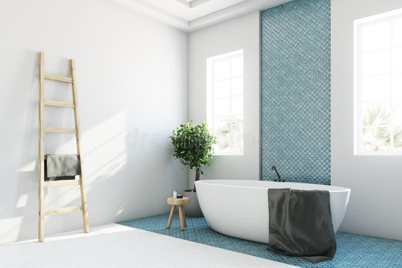 Det blåa och vita badrummet, vit badar hörnet royaltyfri illustrationer