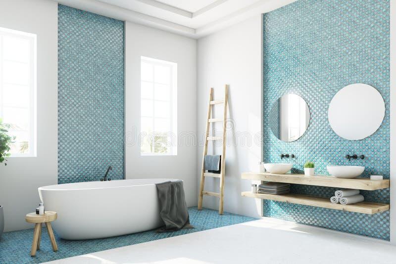 Det blåa och vita badrummet, vit badar sidan stock illustrationer
