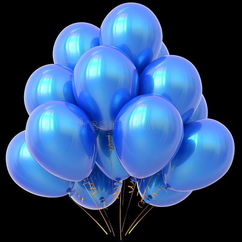 Det blåa partiet sväller glansigt för garnering för lycklig födelsedag cyan royaltyfri illustrationer