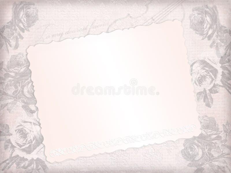 Det bleknade rosa pappers- arket med skissar av rosor och fiolen stock illustrationer