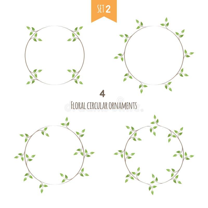 Det blom- cirkuläret smyckar den andra uppsättningen royaltyfri illustrationer