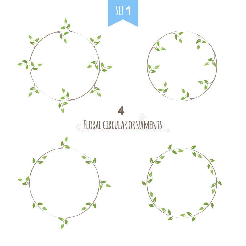 Det blom- cirkuläret smyckar den första uppsättningen stock illustrationer