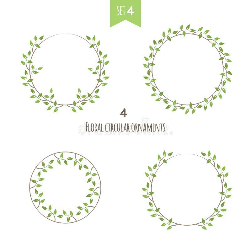 Det blom- cirkuläret smyckar den fjärde uppsättningen stock illustrationer