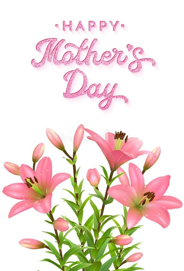 Det blom- hälsningkortet för moderdag med rosa färger blänker text Realistiska rosa liljor med vattendroppar som isoleras på vit stock illustrationer