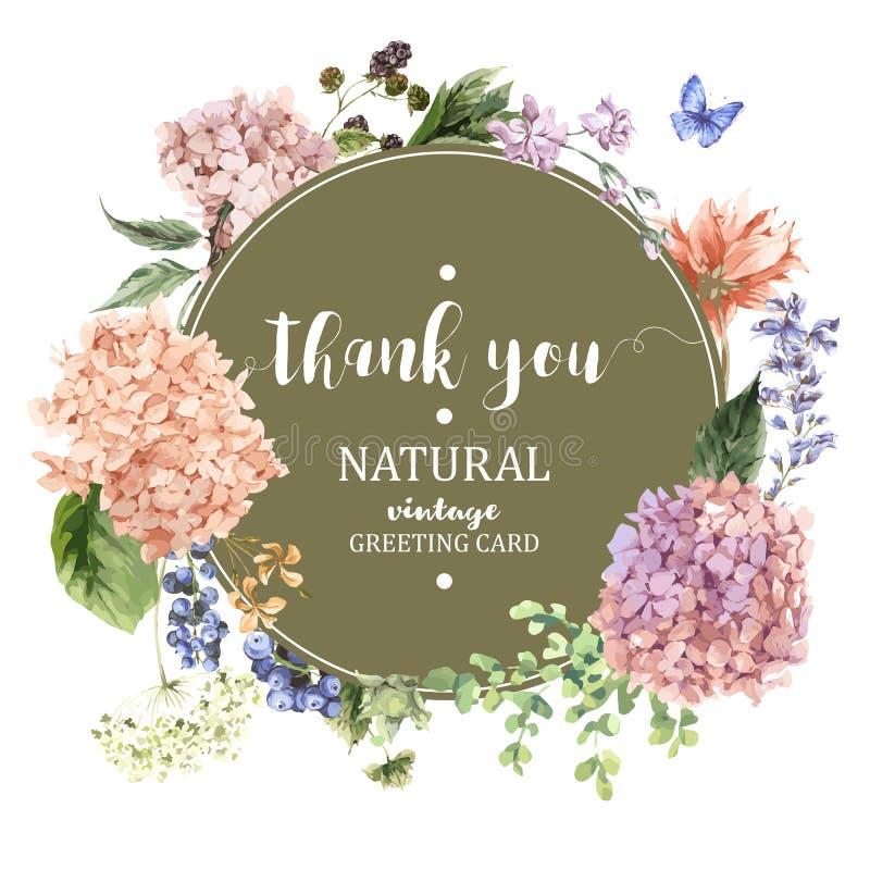 Det blom- hälsningkortet med den blommande vanliga hortensian och trädgården blommar royaltyfri illustrationer