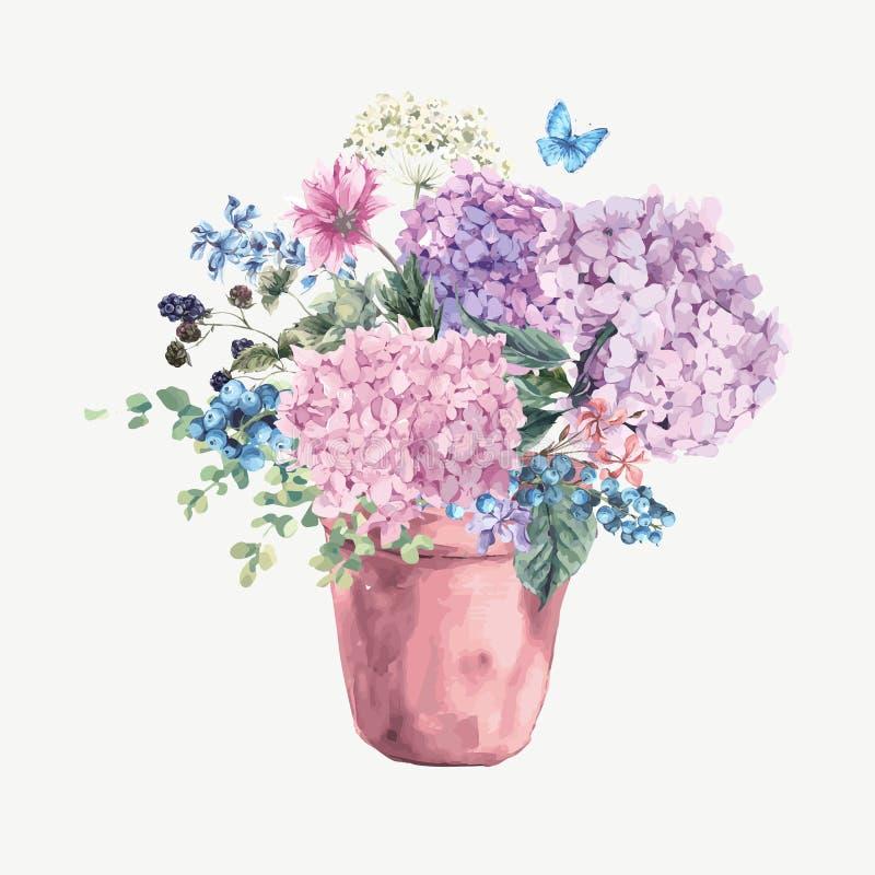 Det blom- hälsningkortet med den blommande vanliga hortensian och trädgården blommar vektor illustrationer