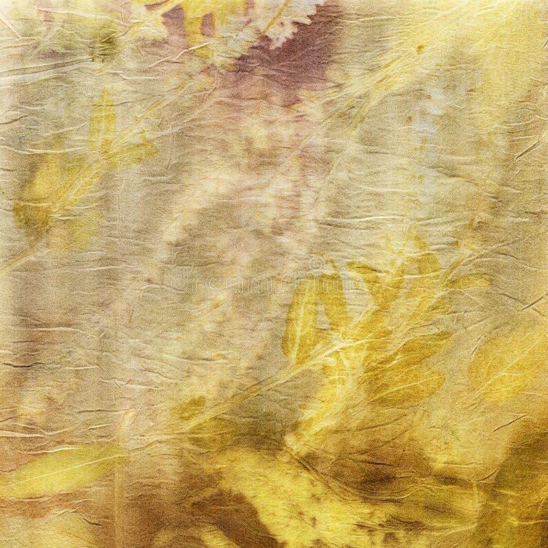 Det botaniska trycket med bladet skrivar ut på naturligt silke royaltyfri illustrationer