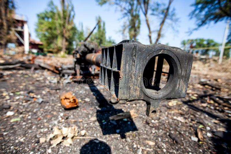 Det brända artillerivapnet, krig åtgärdar efterdyning, den Ukraina och Donbass konflikten arkivbilder