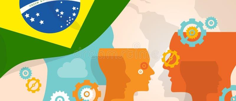 Det Brasilien begreppet av tänkande växande innovation diskuterar storma för hjärna för land framtida under den föreställda olika vektor illustrationer