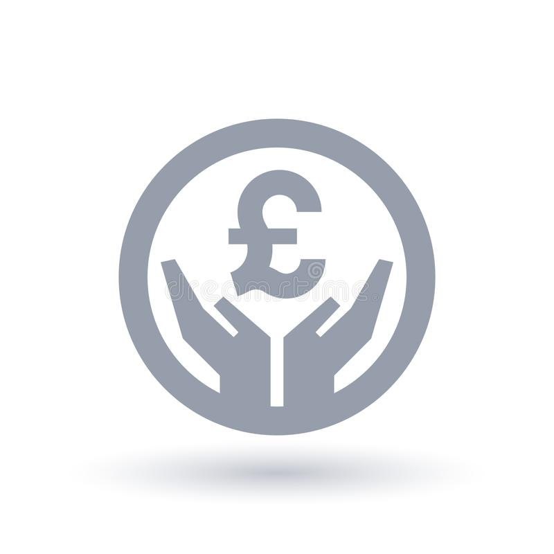 Det brittiska pundet räcker symbolen - pengarframgångsymbol stock illustrationer