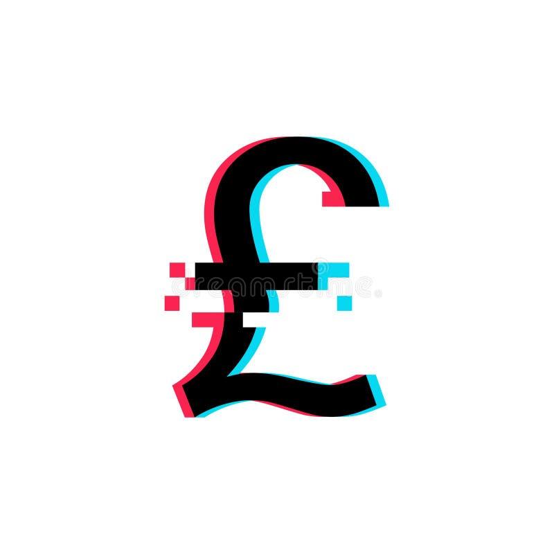 Det brittiska pundet undertecknar in tekniskt felstil vektor illustrationer
