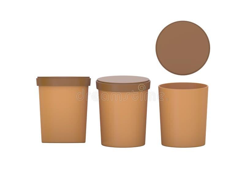 Det bruna mellanrumet badar den plast- behållaren för mat som förpackar med urklippet stock illustrationer