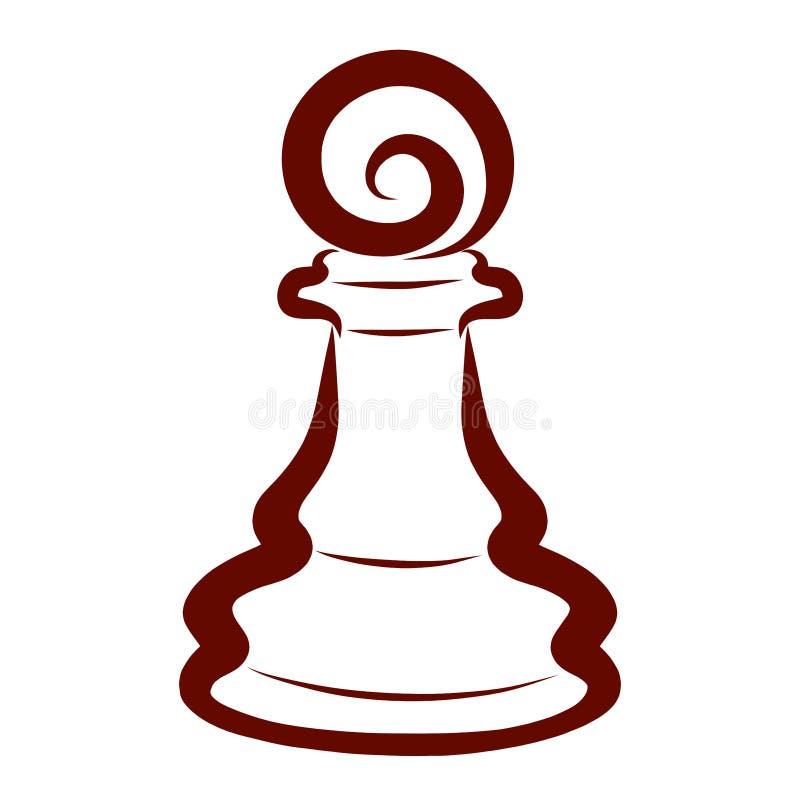 Det bruna schackstycket, mörker pantsätter, intellektuell fritid royaltyfri illustrationer