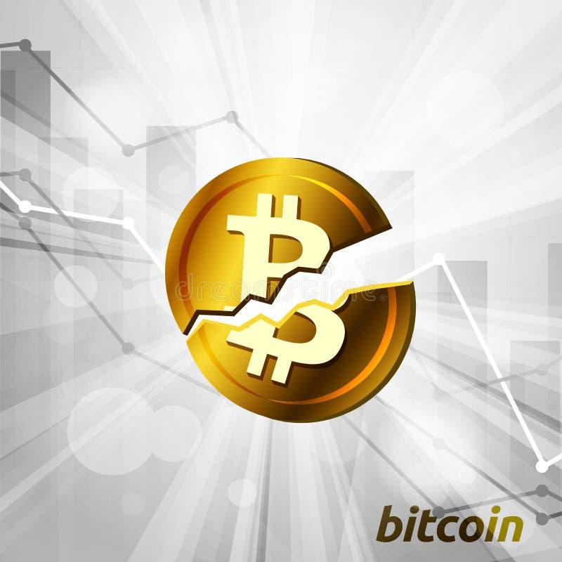 Det brutna bitcoinsymbolet med statistik kartlägger uppvisning av olik visu stock illustrationer