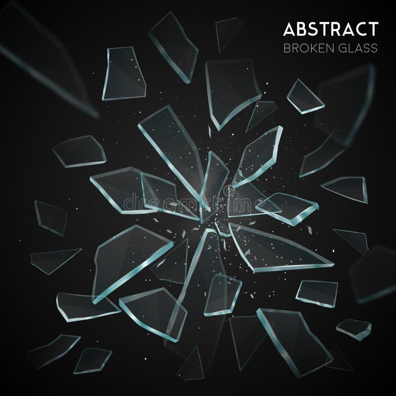 Det brutna Glass flyget fragmenterar mörk bakgrund stock illustrationer