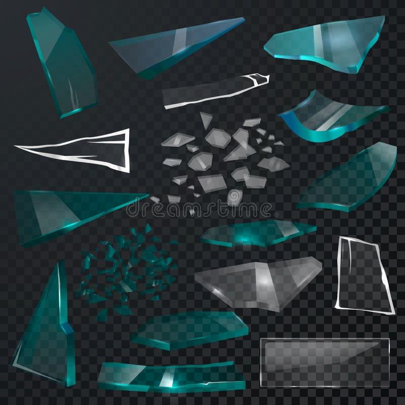 Det brutna glass realistiska splittrade glaset för korsstyckvektorn 3d och splittrar på eller bryter spegeln eller exponeringsgla vektor illustrationer