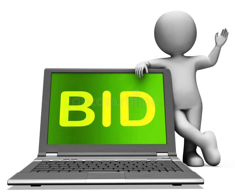 Det budbärbara datorn och teckenet visar spekulanten som bjuder eller, auktionerar bort direktanslutet royaltyfri illustrationer