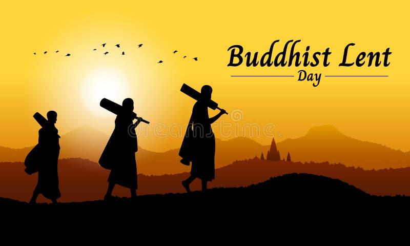 Det buddistiska lånade dagbanret med den buddistiska munken går på bergsikt i design för aftontidvektor royaltyfri illustrationer