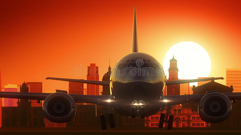 Det Buenos Aires Argentina flygplanet tar av horisont guld- bakgrund stock illustrationer